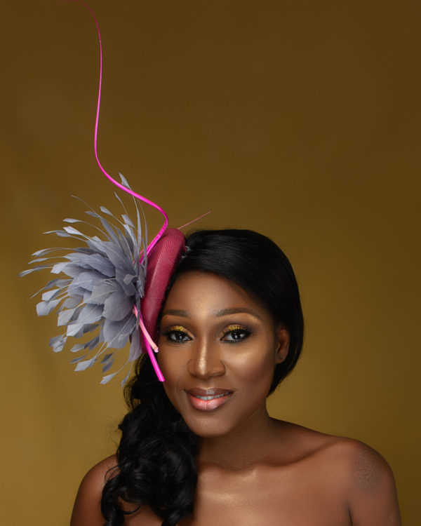 Grey Satellite Feather Flower Fascinator on Pink Leather Base