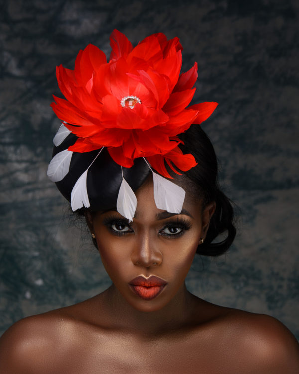 Black Genuine Leather Fascinator with Red Satellite Feather Flower