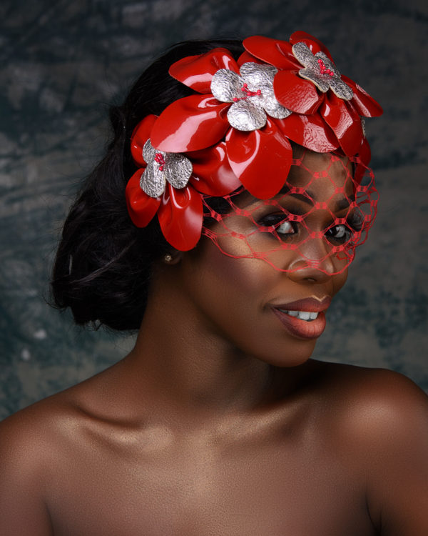 Red and Silver Hand Cut Leather Crown Fascinator